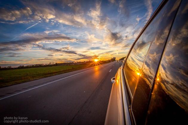 アメリカ横断ドライブ 夕焼け